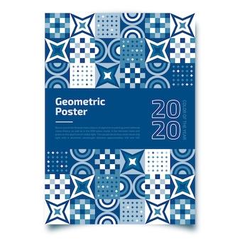 Geometryczny plakat z klasycznym niebieskim szablonem