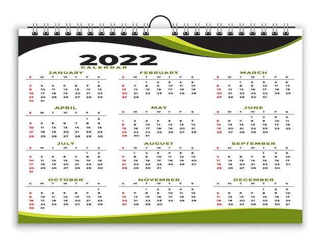 Geometryczny styl profesjonalny szablon kalendarza 2022 czarny zielony projekt