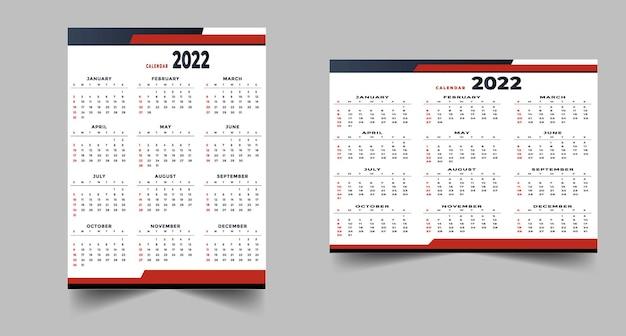 Geometryczny styl profesjonalny szablon kalendarza 2022 czerwony czarny projekt