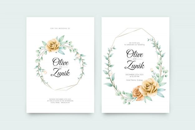 Geometryczny szablon karty ślub z piękną dekoracją kwiatową akwarela