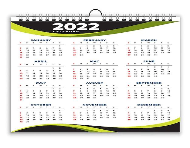 Geometryczny Szablon Projektu Kalendarza Czarno-żółtego 2022 Premium Wektorów