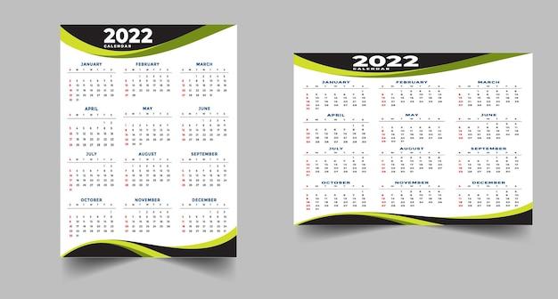 Geometryczny szablon projektu kalendarza czarno-żółtego 2022