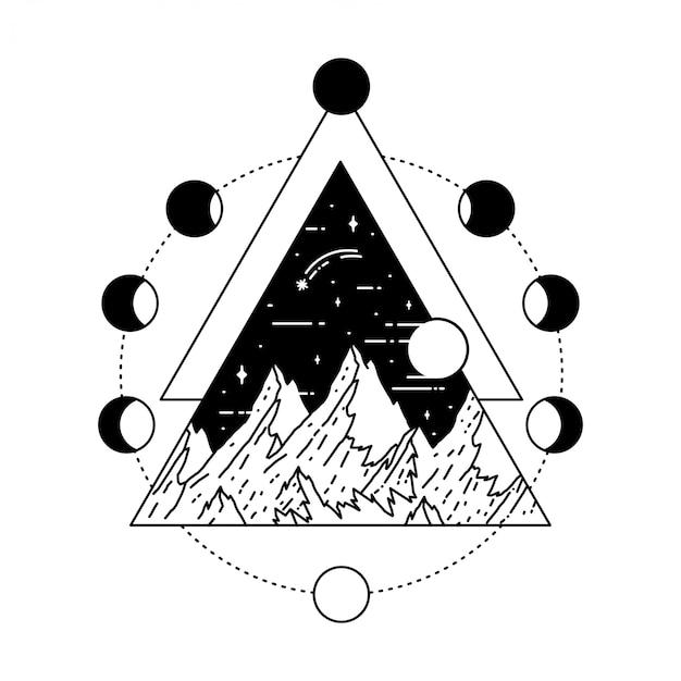 Geometryczny tatuaż z księżycem
