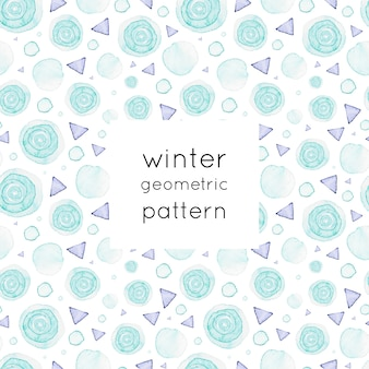 Geometryczny wzór akwarela zima