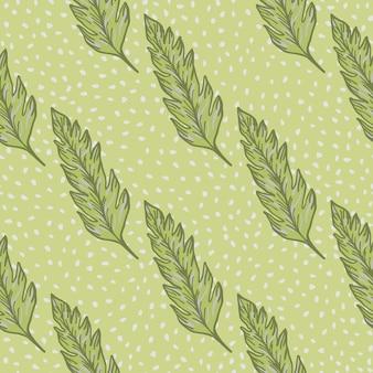 Geometryczny wzór liści na tle kropek. prosty ornament liści. tło liścia.