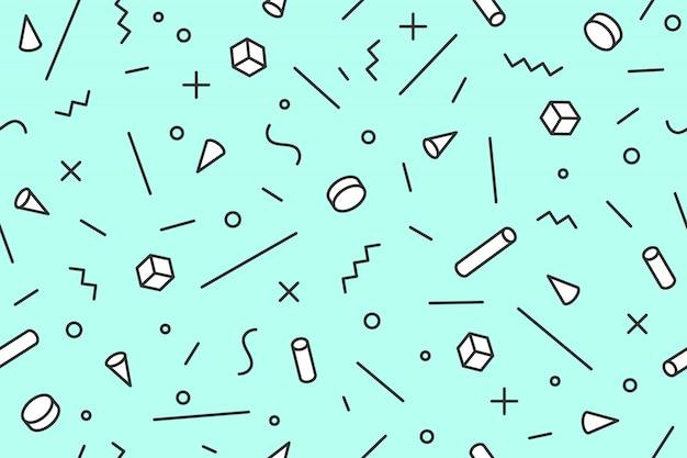 Geometryczny wzór memphis. jednolity wzór graficzny modne style lat 80-90-tych, czarne tło. kolorowy wzór z abstrakcyjnymi obiektami o różnych kształtach do pakowania papieru, tła. ilustracja