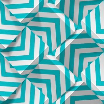 Geometryczny wzór. realistyczne kostki z białego papieru z paskami. szablon do tapet, tekstyliów, tkanin, papieru pakowego, tła. streszczenie tekstura z efektem ekstruzji objętości.