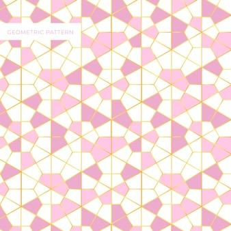 Geometryczny wzór różowy i złoty wzór