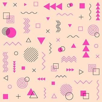 Geometryczny wzór tła w stylu memphis. ilustracja wektorowa.