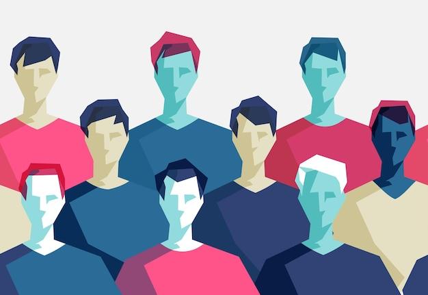 Geometryczny wzór z grupą młodych mężczyzn różnych narodowości