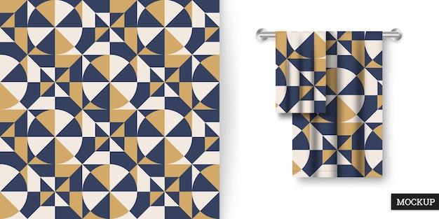 Geometryczny wzór z kwadratami i trójkątami