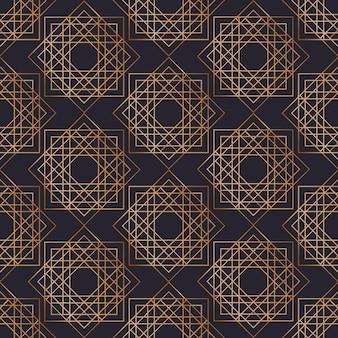 Geometryczny wzór z kwadratów narysowanych złotymi liniami konturu na czarnym tle. streszczenie tło. ilustracja w eleganckim stylu art deco do pakowania papieru, nadruk na tekstyliach.