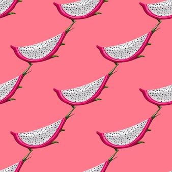 Geometryczny Wzór Z Plasterkiem Owocu Czerwonego Smoka Na Różowym Tle. Tapeta Egzotyczna Tropikalna Pitaja. Projekt Na Papier Pakowy, Nadruk Na Tekstyliach, Tkaninę. Ilustracja Wektorowa Premium Wektorów