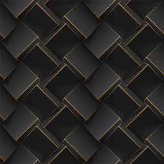 Geometryczny wzór z realistycznymi czarnymi kostkami 3d. szablon do tapet, tekstyliów, tkanin, plakatów, ulotek, tła lub reklamy. tekstura z efektem ekstruzji.