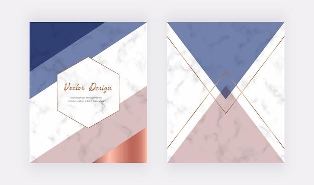 Geometryczny wzór z różowymi, niebieskimi i złotymi trójkątami na fakturze marmuru.