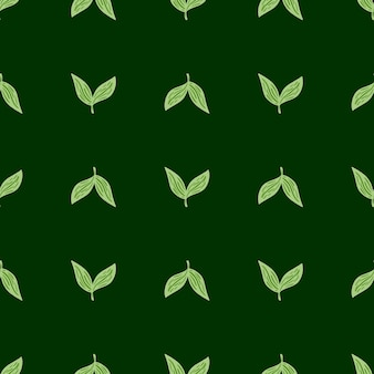 Geometryczny wzór ziołowy z wyprofilowanymi prostymi sylwetkami liści. tło liści. zielone tło. ilustracja wektorowa dla sezonowych wydruków tekstylnych, tkanin, teł i tapet.