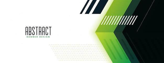 Geometryczny zielony szeroki baner w nowoczesnym stylu