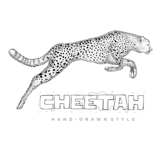 Gepard biegnie szybko. ręcznie rysowane ilustracji zwierząt