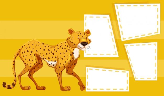 Gepard na żółtym szablonie
