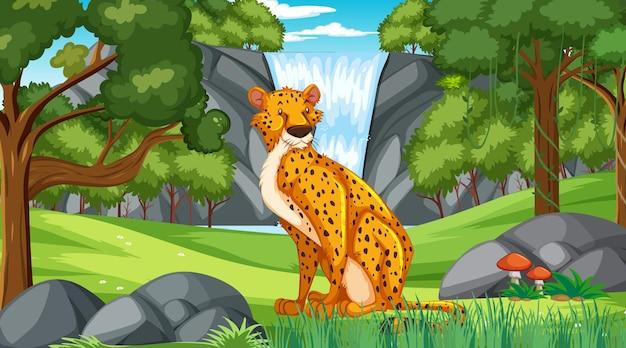 Gepard w lesie lub lesie deszczowym w ciągu dnia
