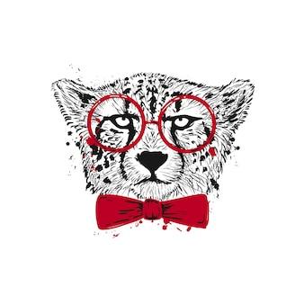 Gepard w okularach i nadrukiem szkicu kokardki