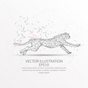 Gepard z niskoprofilową ramą z drutu.