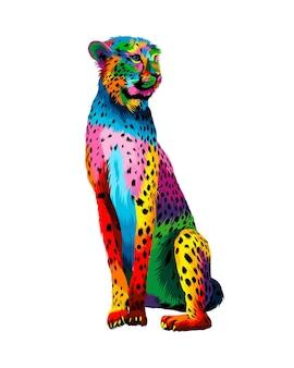 Gepard z wielokolorowych farb splash realistycznego rysunku w kolorze akwareli