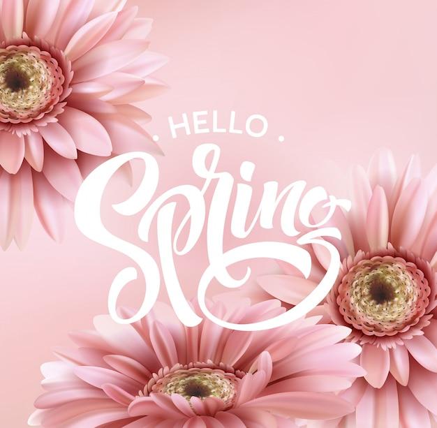Gerbera kwiat i wiosenny napis.