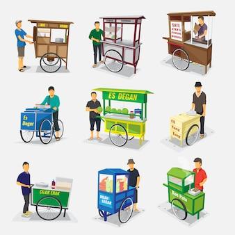 Gerobak jajanan pasar indonesia - tłumacz indonezyjski tradycyjny uliczny stragan z jedzeniem