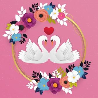 Gęsi miłość ikona i kwiat tło wektor
