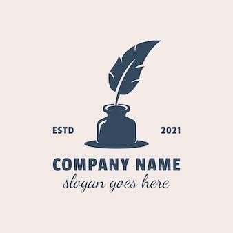 Gęsie Podpis Z Tuszem Pióro Logo Symbol Ikonę Projektu Premium Wektorów