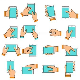 Gest dłoni na ekranie dotykowym. ręce trzyma smartfon lub inne urządzenia cyfrowe. zestaw ikon linii z płaskich elementów.