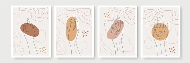 Gest dłoni w stylu boho dekoracje ścienne. kreatywna minimalistyczna ręka rysuje sztukę abstrakcyjną. nowoczesne ilustracje. kolekcja w stylu bohemy