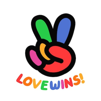 Gest hipisa pokoju tęczy. miłość skrzydło cytat slogan. wektor ręcznie rysowane ikona ilustracja kreskówka. pokój, miłość, wesoły, przyjazny nadruk lgby na t-shirt, koncepcja plakatu