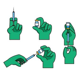 Gest ręki lekarza przygotowanie wstrzyknięcia szczepionki