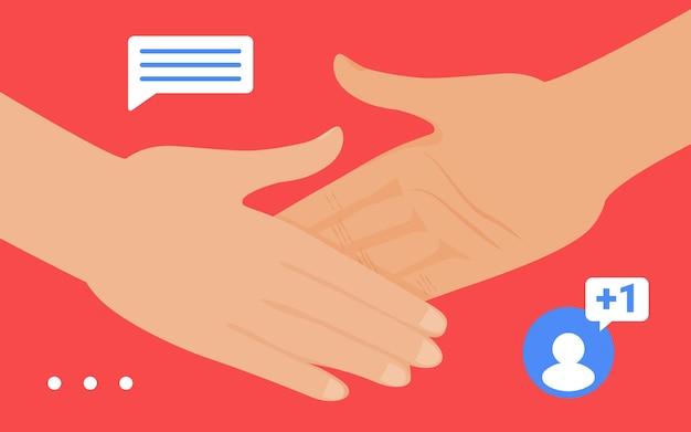 Gest uścisku dłoni w mediach społecznościowych znajomy obserwujący lub partner uścisk dłoni