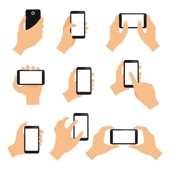 Gesty dłoni ekranu dotykowego zaprojektować elementy szczypta machnięcia i dotknij izolowane ilustracji wektorowych