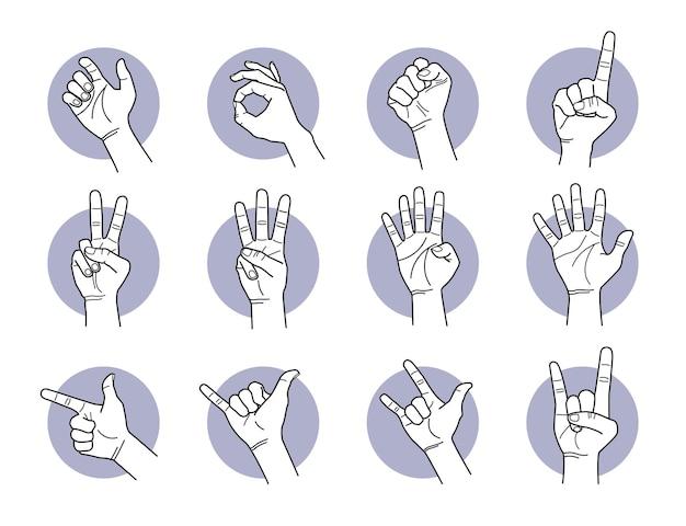 Gesty dłoni i palców. ilustracje wektorowe różnych sygnałów ręcznych i pozy.