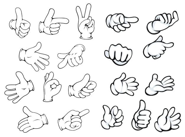 Gesty dłoni i wskaźniki w stylu kreskówki komiksów do projektowania reklamy lub komunikacji, na białym tle