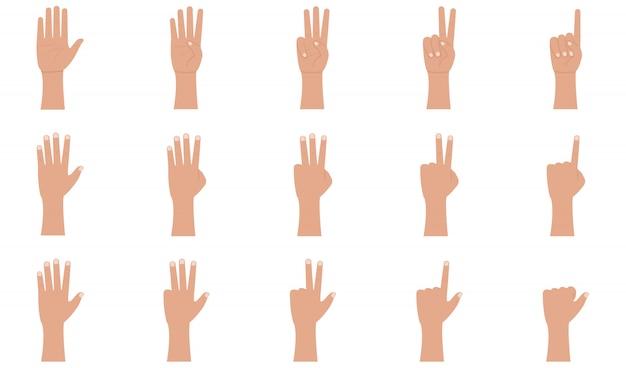 Gesty dłoni ikony ustaw w stylu płaski.