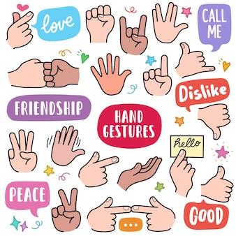 Gesty dłoni kolorowe elementy grafiki wektorowej i ilustracje doodle