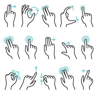 Gesty dłoni telefonu. gest dłoni dla urządzeń z ekranem dotykowym, przesuwany telefon dotykowy. powiększ ruch przesuń palcem naciśnij akcje palca, zestaw symboli