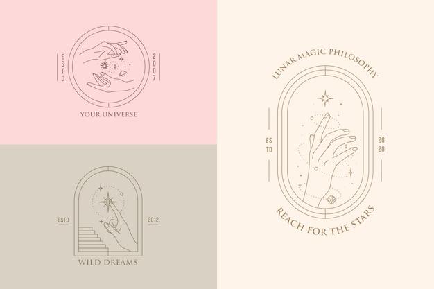 Gesty dłoni zestaw szablonów projektów logo w minimalistycznym stylu liniowym