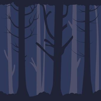 Gęsty ponury las stare nagie drzewa ciemne