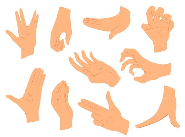 Gesty rąk. ilustracja wektorowa ustawia ręce w różnych interpretacjach, pokazując sygnał, emocje lub znaki. płaska konstrukcja nowoczesnej koncepcji.