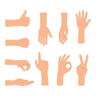 Gesty rąk na białym tle. zestaw kolorowych gestów dłoni