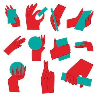 Gesty rąk. ręka z gestami liczącymi, ręka z różnymi przedmiotami, ręka trzyma przedmioty w różnych pozycjach. niezwykłe dłonie w stylu płaski na białym tle. .