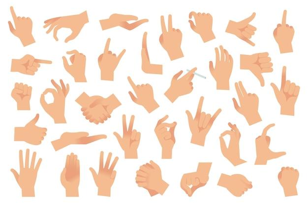Gesty rąk. różne ramiona, ludzkie dłonie, ok, kciuk w górę i wskazujący palec, szczypta i pięść. optymistyczny lub pesymistyczny gest ramienia, interaktywna komunikacja wektor płaski kreskówka na białym tle zestaw