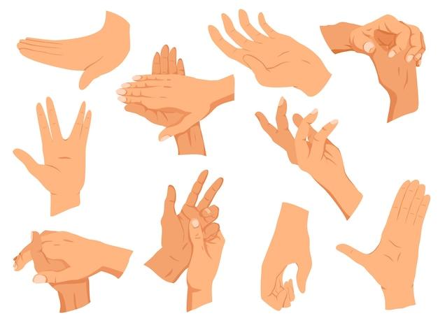 Gesty rąk. układają ręce w różnych interpretacjach, pokazując sygnały, emocje lub znaki. płaska konstrukcja nowoczesnej koncepcji.