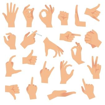 Gesty rąk. wskazując gestem ludzkiego palca, sygnał otwartej dłoni. kolekcja znaków uwagi komunikacji ramienia